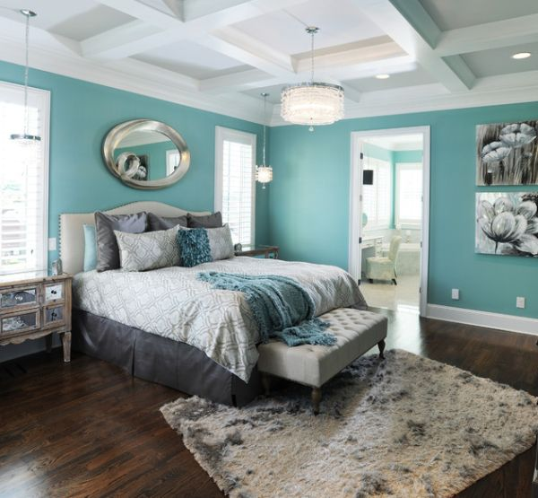 Various Fascinating Bedroom Benches: 35 Design Ideas: Gorgeous Modern Bedroom In Beautiful Aqua Blue