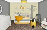 Unique Nursery Theme That You Can Follow : Gorgeous Modern Nursery Design With Owl Wall Decal And Cevron Accents
