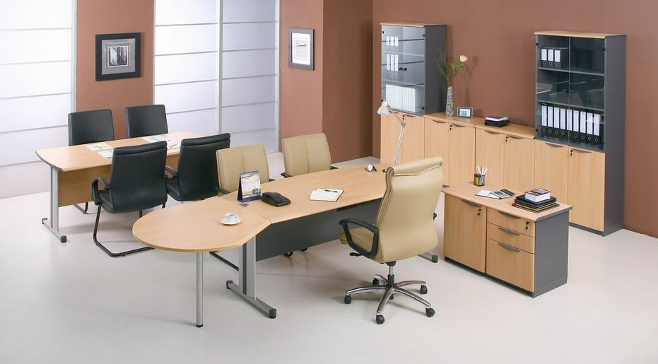 Sleek Modern Office Furniture Makes Stylish And Cool Office Atmosphere : Gorgeous Modern Office Furniture Wooden Accents Desk Black Brown Chairs