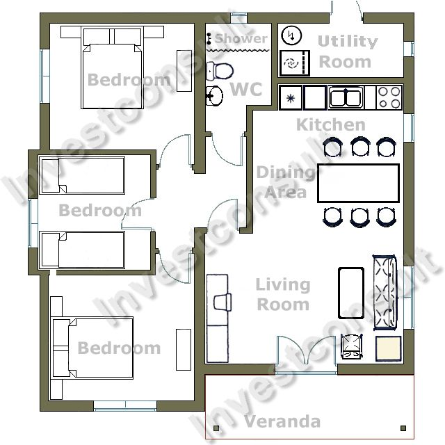 Two Bedroom House Plans For Family: Gorgeous Modern Style Two Bedroom House Plans Design Ideas