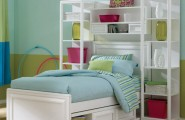 Kids Beds With Storage For A Tidy Room : Gorgeous Modern Style White Kids Beds With Storage Green Blue Interior Room