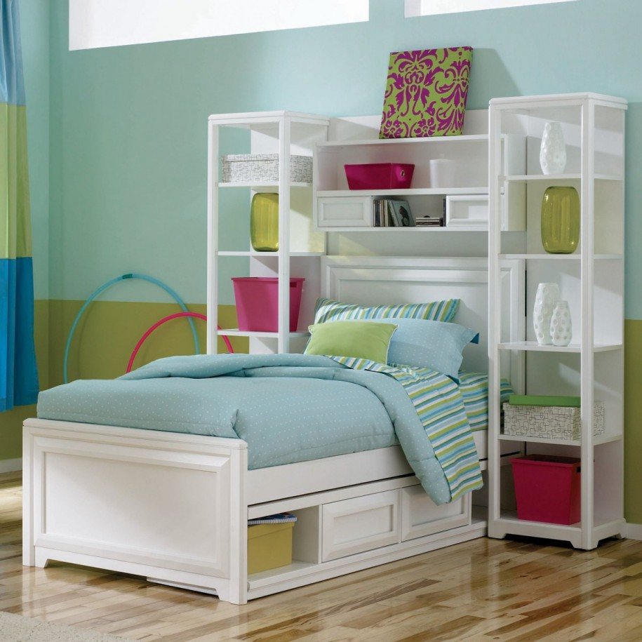 Kids Beds With Storage For A Tidy Room: Gorgeous Modern Style White Kids Beds With Storage Green Blue Interior Room