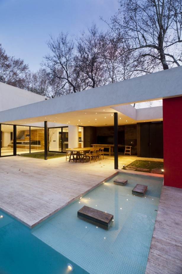 Unique Opulent Modern Getaway In Buenos Aires: Gorgeous Outdoor Space Home Design In Modern Style With Natural Modern Pool Design ~ stevenwardhair.com Home Design Inspiration