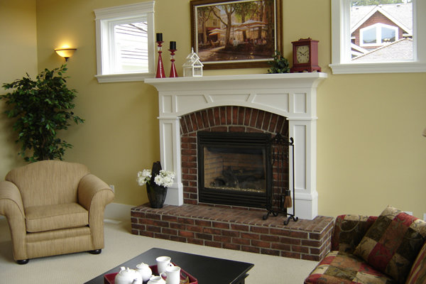Classic Fireplace Mantel Designs For Old Lounge Look: Gorgeous White Cover Brick Style Fireplace Mantel Designs Ideas