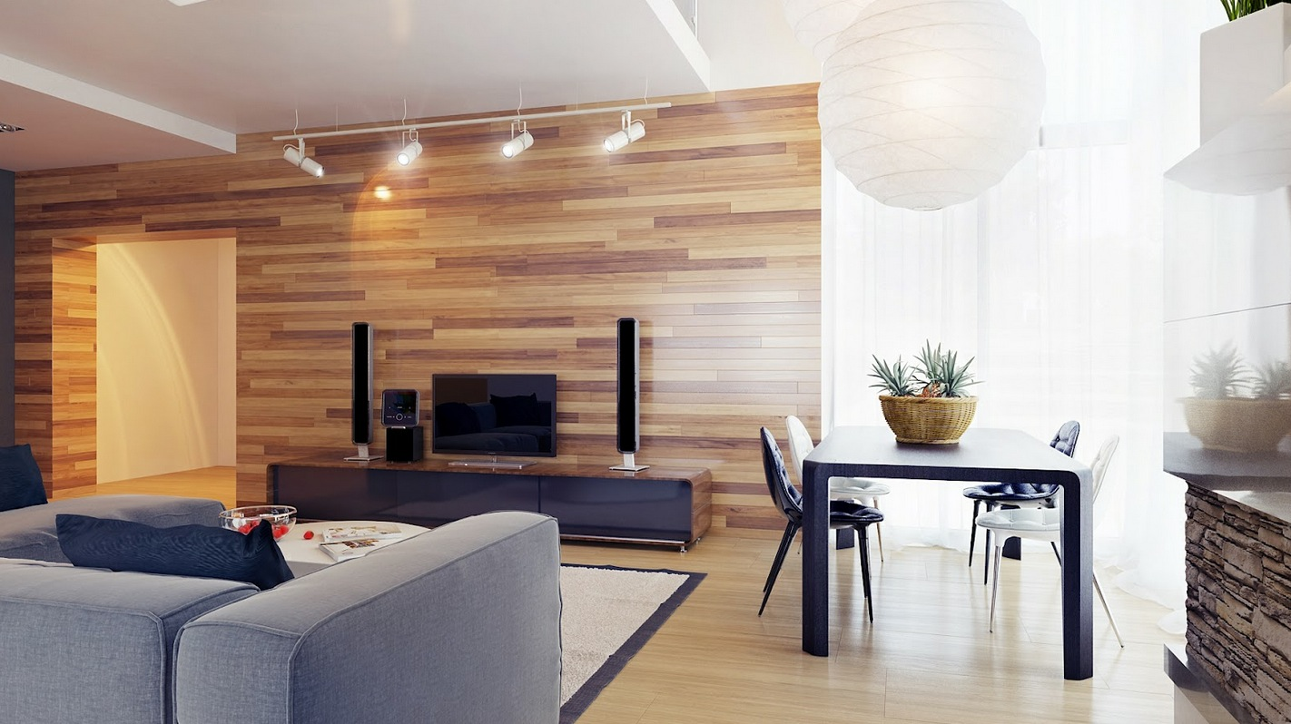 Living Room Design: Gorgeous Wood Living Room Clad Wall Grey ...