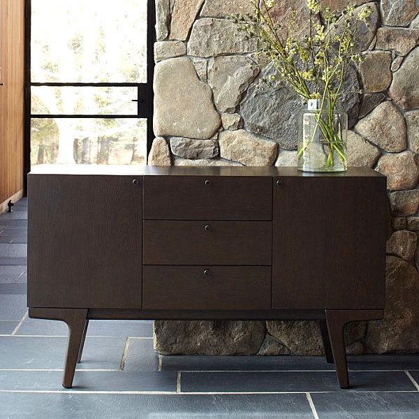 Chic Eclectic Look With Elegant Nuance: Gorgeous Wooden Buffet In A Modern Space With Dark Color Design Ideas