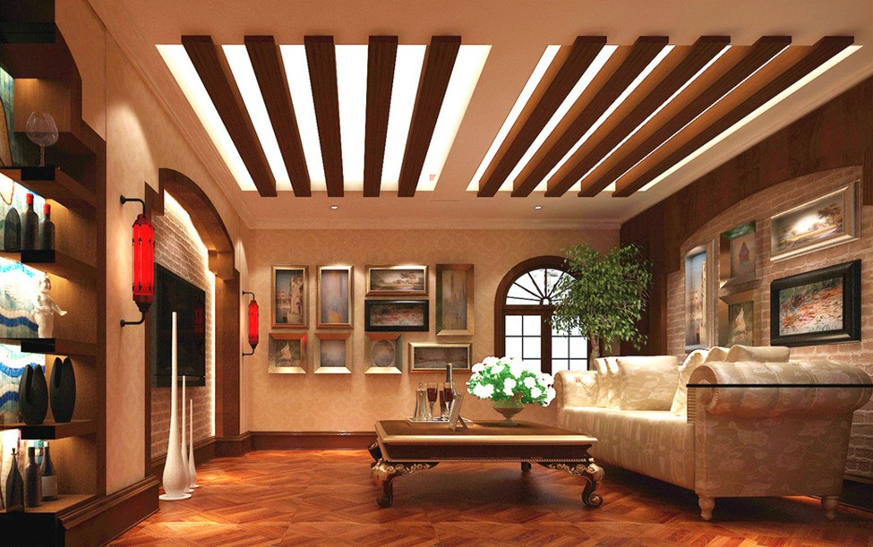 Extraordinary Wood Living Room Reflecting Natural And Warm Character : Graceful Wood Living Room Pastoral Baroque Accent Rendering Ceiling Design