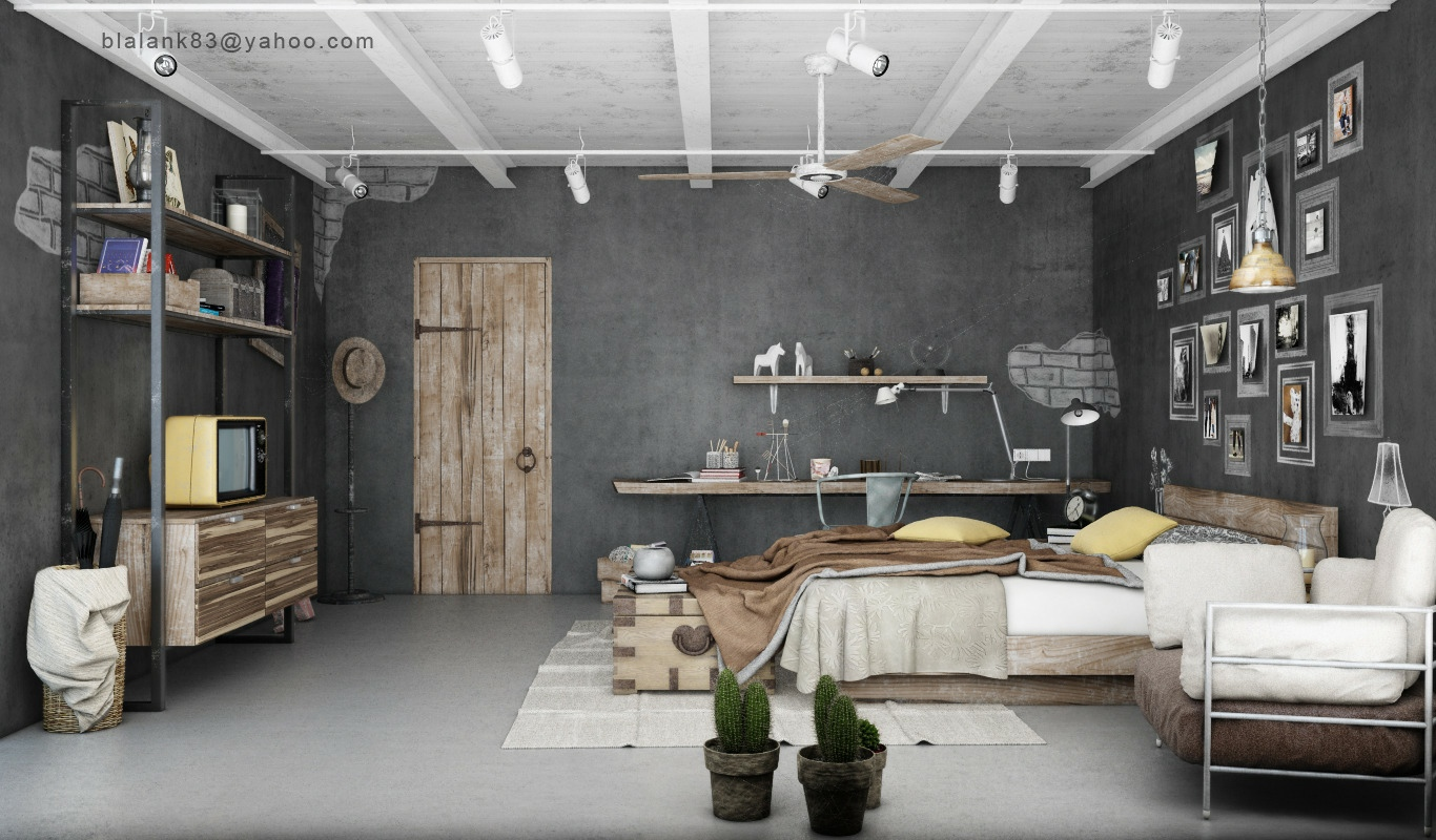 Industrial Bedroom Give You Artistic Feeling : Gray Brown Bedroom Decor