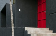 Beautiful Touch Of Decor In Modern Residence : Great Exterior Calero House With Grey Wall Design And Red Door Style
