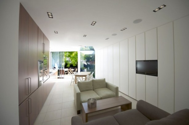 Modern Extension Room Between Old Residences: Great Living Room Design In Faceted House With Wooden Table Between Sofas ~ stevenwardhair.com Villas Inspiration