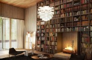 Gorgeous Bookshelf Design For Tidy Room Design : Great Wooden Bookcase Design Around The Fireplace At Home Library