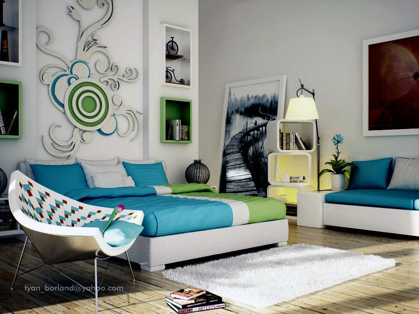 Chic Bedroom Ideas: Feature Walls For Decoration : Green Blue White Contemporary Bedroom Design