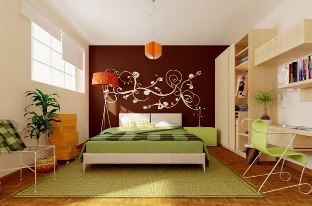 Chic Bedroom Ideas: Feature Walls For Decoration: Green Brown Orange Modern Bedroom ~ stevenwardhair.com Bedroom Design Inspiration