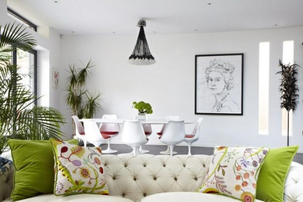 Modern Victorian Home Combining The Past And The Modern Era: Green Cushions Green Floral Cushions Tulip Dining Table White Chairs Queen Monochrome Painting ~ stevenwardhair.com Country Home Design Inspiration