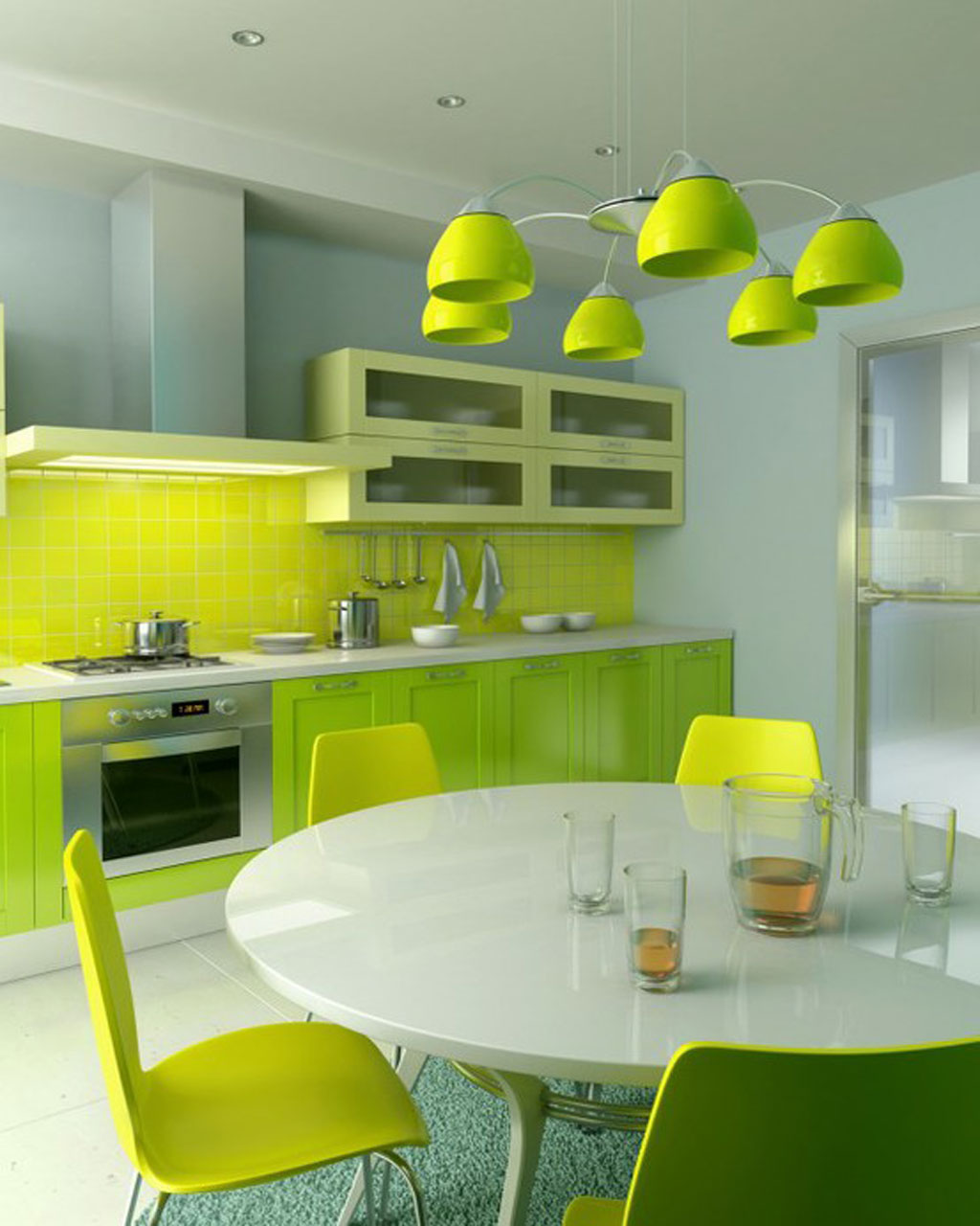 Brilliant Vintage Kitchen With Beautiful Lighting Ideas And Old Design: Green Side Chairs Vintage Kitchen With Beautiful Lighting Ideas