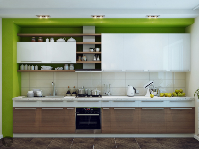 Small Modern Kitchen Design To Show Up The Charming Style : Green White Wood Modern Kitchen Design Cabinet Ceramic Tile Floor
