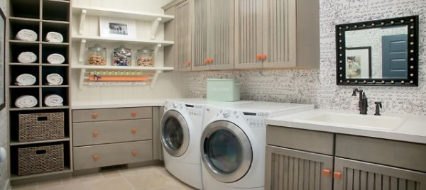 Wonderful Laundry Room With Smart Arrangement To Create Compact Environment: Grey And Orange Laundry Room With Wooden Cabinets For Storage