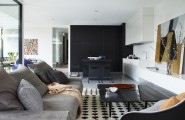 Fantastic Modern Residence Design Represents Luxurious Taste : Grey Fabric Sofa Design And Black Wooden Coffee Table
