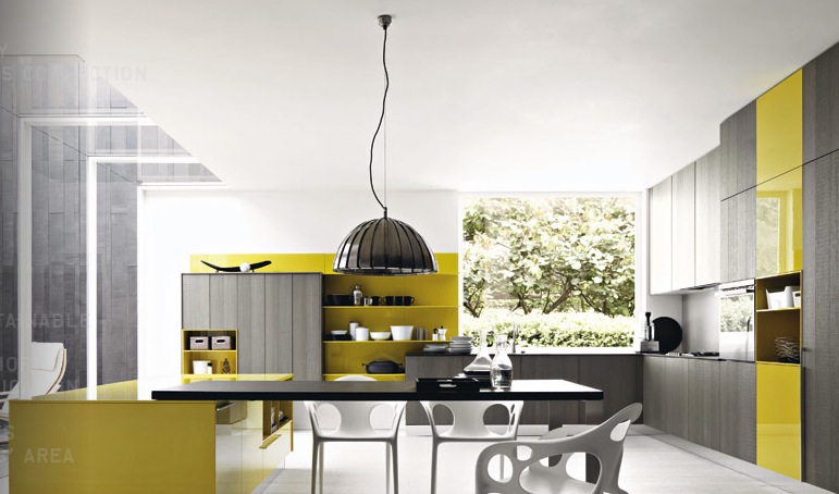 Design Your Own Kitchen Using Unique Colors And Furniture: Grey Mustard Yellow Modern Kitchen1