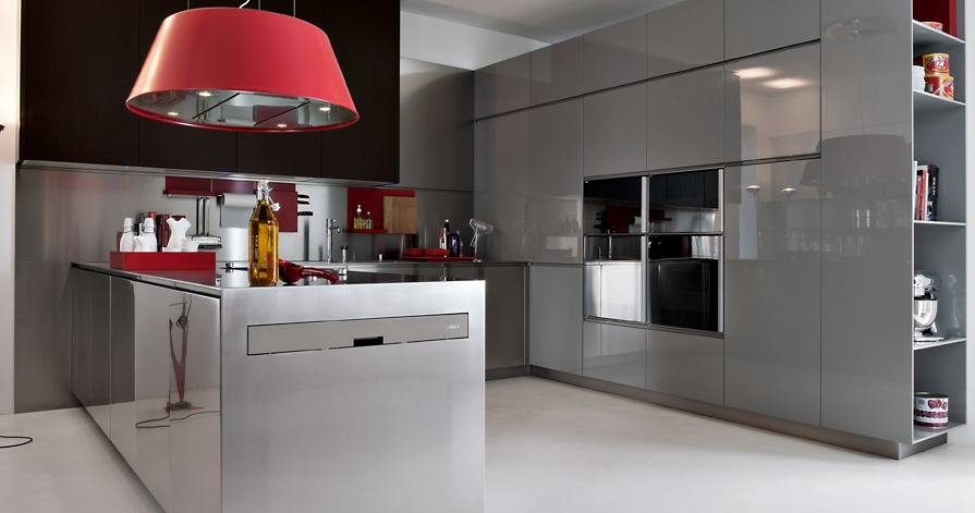 Enchanted Modern Kitchen In White: Grey With Red Pops
