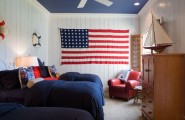 Amazing American Bedroom Design Comes With The Red, White And Blue Colors : Hard To Miss The Theme That This Fabulous Kids Room Is Going For