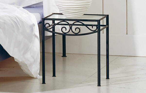 Elegant Wrought Iron Bed To Make Your Bed Looks More Beautiful : Hasena Romantic Rialto Wrought Iron Bedside Table Glass Top Closeup