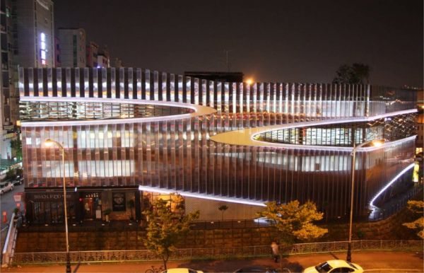 Awesome Parking Garage Designs; 11 Amazing Images : Herma Parking Building Night View