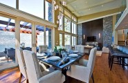 Stylish Dining Room Sticking Out Modesty Ideas In Your Home : High Ceiling Conteporary Dining Room With Fancy Square Table