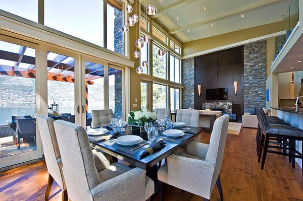 Stylish Dining Room Sticking Out Modesty Ideas In Your Home: High Ceiling Conteporary Dining Room With Fancy Square Table