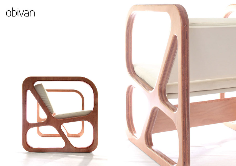 Geometric Modern Chair For Every Room Decoration : Hilarious Obivan Chairs Design In Two Side View
