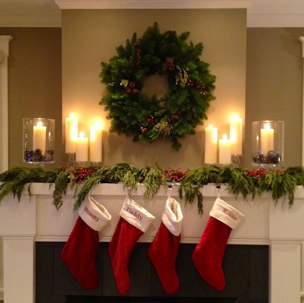 Cool Christmas Mantels Design With Colorful Ribbon And Glossy Ornament: Impressive Christmas Mantels Design Green Wreath Red Socks ~ stevenwardhair.com Tips & Ideas Inspiration