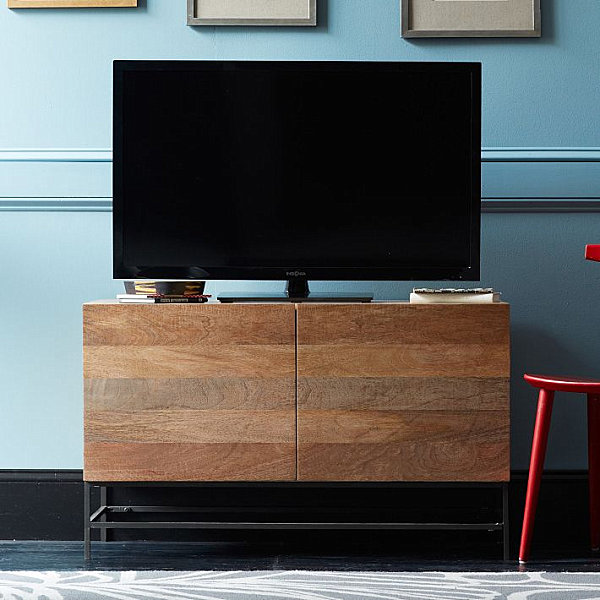 Marvelous Small Cabin Decoration For Comfortable Living Place: Incredible Rustic Media Console With Wooden Furniture And Blue Wall Design