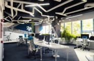 Wonderful Modern Office Design With White Pipes Exposed : Incredible Spaceship Styled Office Design Romania With White And Blue Color Interior