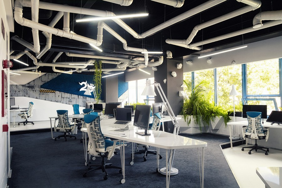 Wonderful Modern Office Design With White Pipes Exposed: Incredible Spaceship Styled Office Design Romania With White And Blue Color Interior