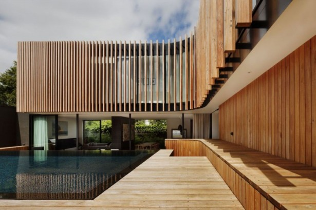 Gorgeous Contemporary Home Design With Wooden Details: Infinity Pool Placed In Wooden Floor ~ stevenwardhair.com Contemporary Home Design Inspiration