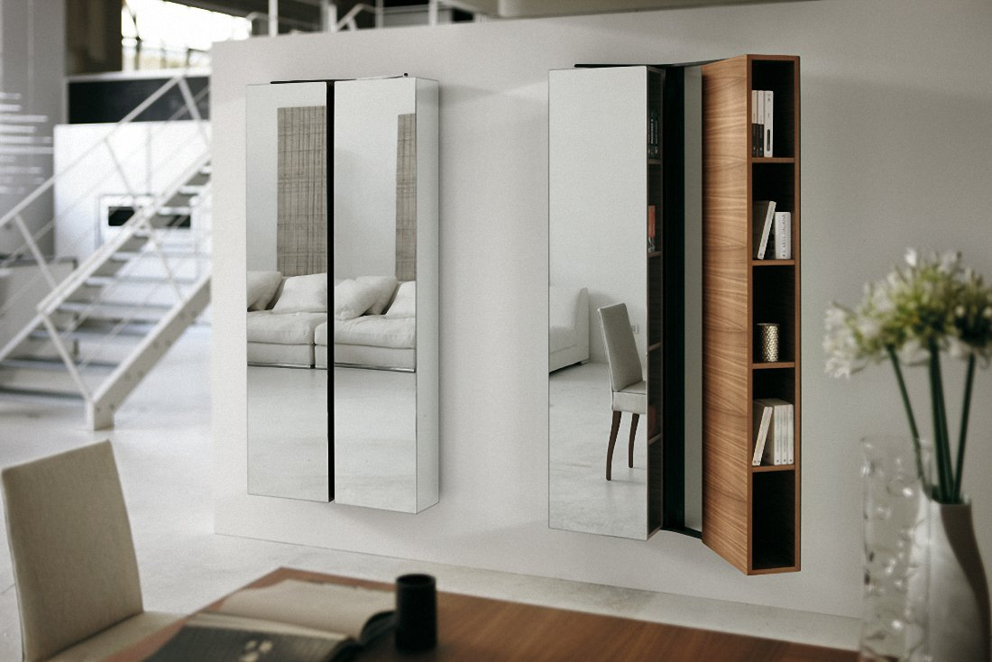 Wall Mirrors For Living Room, A Different Way To Decorate: Innovative Bookcase Like Wall Mirrors For Living Room Design
