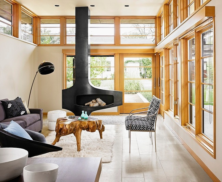 Adorable Asian Architectural Residence So Traditional With Wood Accent : Inspirational Black Fireplace For Warmer Tarrytown Residence By Webber Studio Architects