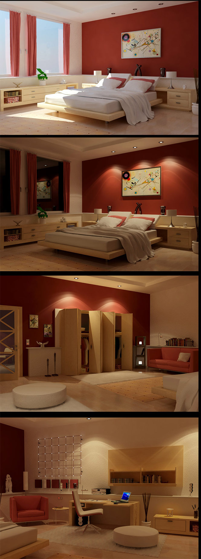 Enjoyable Colorful Bedroom For Unique Room Coloring: Inspirational Red Themed Bedroom Design Ideas