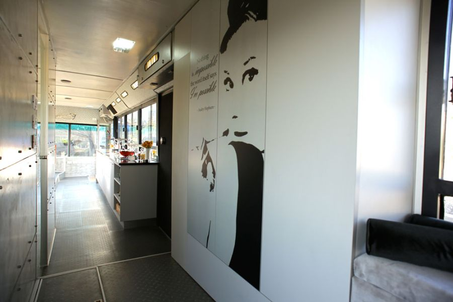 Modern Indoor Made Uniquely In A Bus Interior Space: Inspiring Quote From Hepburn On The Wall Picture Wall Decal