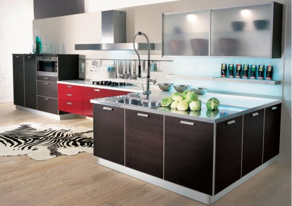 Sparkling Kitchen Cabinet Designs With Glass Doors: Interesting Kitchen Design Sports An Array Of Colors And Textures