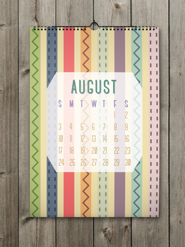 Unique Calendar Shape Designs With Colorful Ideas For 2014 : Interesting Strips In The August Calendar On The Wooden Wall