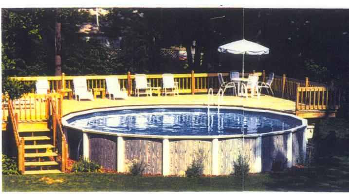 Gorgeous Yet Safe Above Ground Pools With Decks In Round Shape : Intricate Above Ground Pools With Decks Design Idea