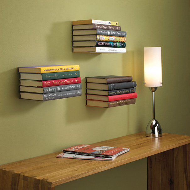 Bookshelf Design For Modern Interior Design : Invisible Bookshelf Standing Lamp Couple Magazine Wodden Table