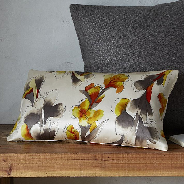 Fresh Throw Pillows For Your Powerful Spring : Iris Motif Silk Pillow Cover