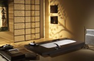 Luxurious Bathroom With Concrete Bathtub : Japanese Style Bathroom Design