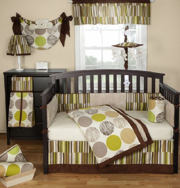 Colorful Baby Boy Nursery Interior Design: Jazz Baby Bedding Set In Sophisticated Brown And Green
