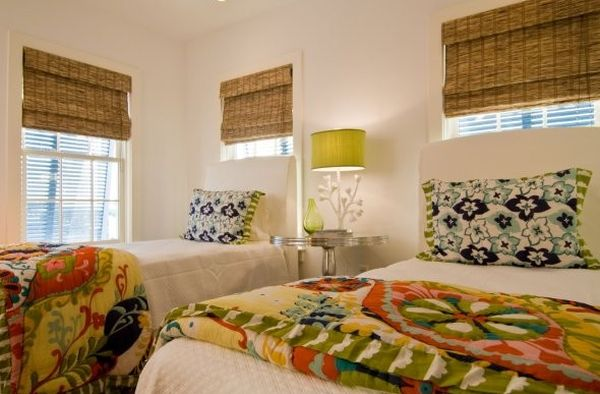 Sensational Bamboo Blinds In Contemporary House: Kids Bedroom In Green With Natural Bamboo Shades ~ stevenwardhair.com Windows Inspiration
