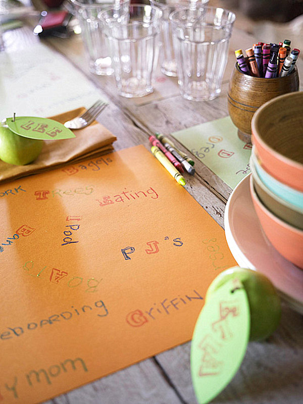 Buffet Table Decorating Ideas For Special Occasion: Kids Pattern Napkin Colorful Crayon Wodden Table Small Glass