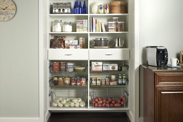 Fine Designed Pantry Shelving Ideas With Lively Design: Kitchen Pantry Storage With Metal Baskets ~ stevenwardhair.com Tips & Ideas Inspiration