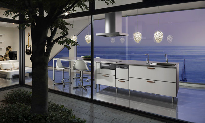 Contemporary Japanese Kitchen Design: Kitchen With Sea View